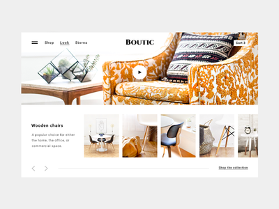 Furniture store online inspiration / lookbook layout