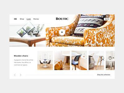 Furniture store online inspiration / lookbook layout shoppable lookbook ecommerce chair wooden interface scroll video layout furniture