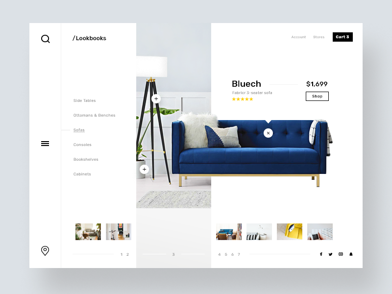 Shoppable furniture lookbook icon branding ux ui design web responsive layout menu thumbnails lookbook furniture