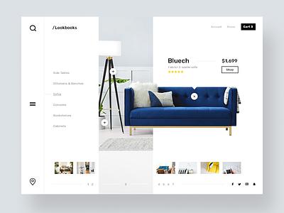 Shoppable furniture lookbook icon branding ux ui design web responsive layout menu thumbnails lookbook furniture