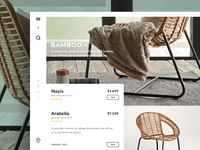 Furniture - Bamboo chairs section rating furniture flat app branding ux ui website web design