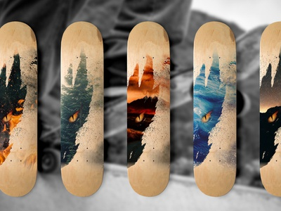 Dragonrider Skate Decks product graphic design brush grunge dark elemental dragons illustration art deck skate