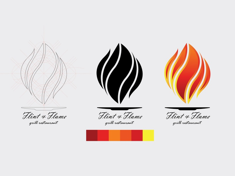 Flint & Flame logo vector illustration design