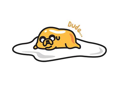 Breakfast Time illustrator illustration photoshop vector jake the dog adventure time graphic design food eggs gudetama