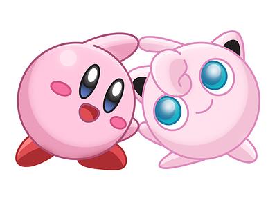 Kirby Puff pop culture cruxworldwide fusion illustrator illustration photoshop vector graphic design mashup kirby