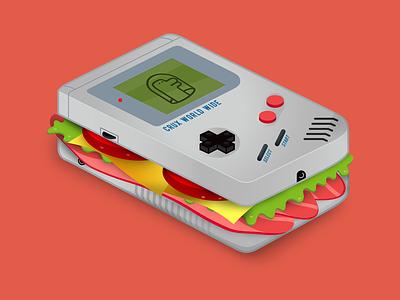 Game Boy Sandwich graphic design cruxworldwide game boy illustrator illustration photoshop user experience art blt food