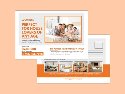 Free Real Estate Postcard Template vector art illustration logo template sell rent minimal freebies marketing house commercial agent advertisement google freelance