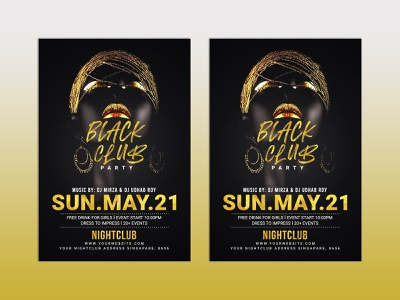 Black and Bold club poster  design illustration party night music ladies hot hedygraphics gold flyer gold glamour flyer extravaganza event elegant disco colorful color club black