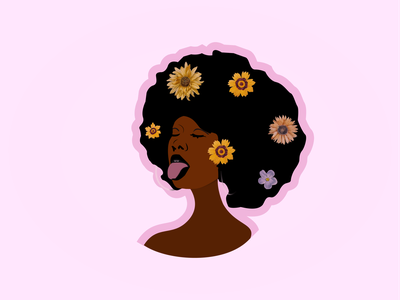Beautiful Afro girl with flower backgrounds vector design background abstract art abstract art illustration artistic vintage logodesign creative design beautiful logo beautiful afro