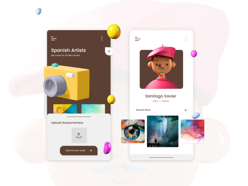 Artists Concept App vector 3d illustration design app design figma adobe xd ux ui modern