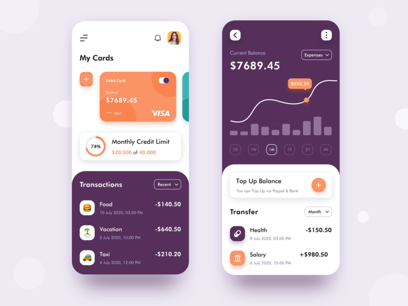 Banking App Concept website dashboad web travel shopping taxi food product design management money app transfer payment bankingapp debit card card banking appdesign app logo illustration