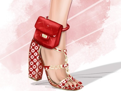 Ankle bag Chanel foot legs anklibag bagel fashion sketching drawing illustration