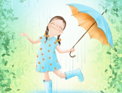 Under rain girl illustration girl character girls children book illustration childrens book rain design caracter bookillustration illustration drawing