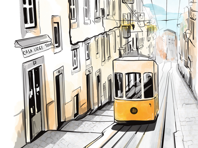 Lisbon illustration urban sketch sketch tram city cityscape lisboa lisbon