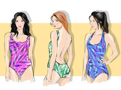 Hot summer fashion swimsuit girls girl summer illustration illustrator