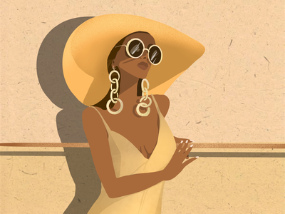 Sunny day artist art illustrator illustration fashion woman yellow summer sunny