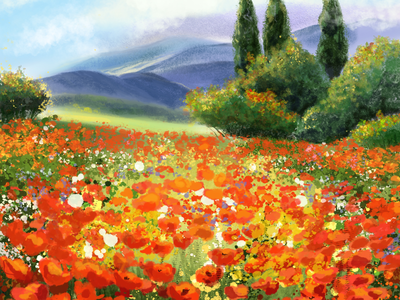 Poppy field procreate art nature drawing illustration painting landscape landscapes digital field poppy