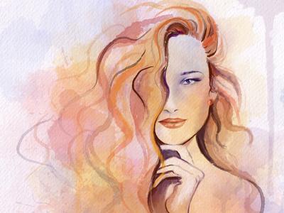 Autumn fall autumn fashion drawing illustration watercolor portrait portraits
