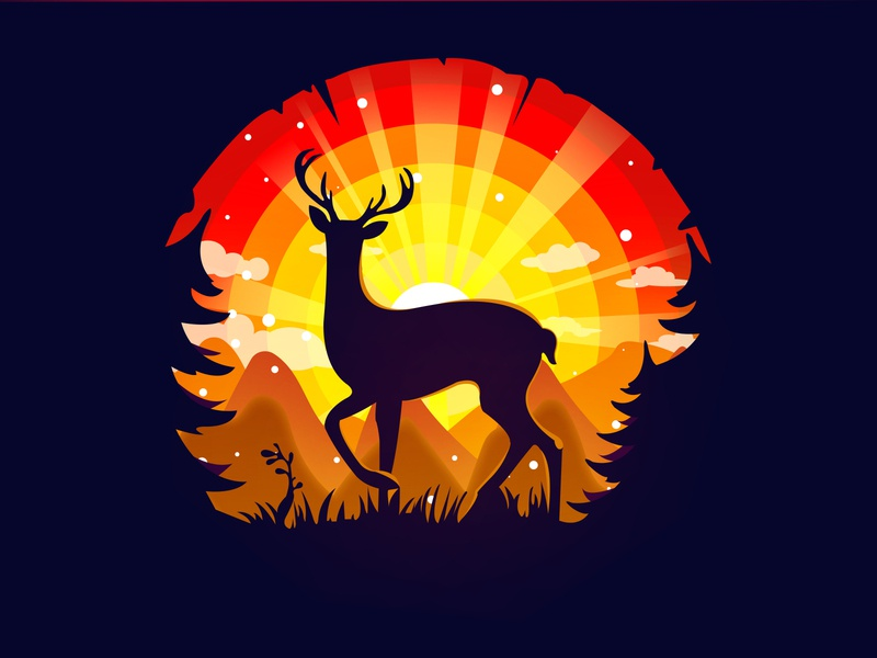 Deer Landscape landscape landscape illustration deer art draw vector ux ui logo illustrator illustration design adobe