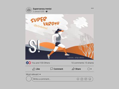 trail running illustration (FB post design) digital art graphic art graphic design illustraion