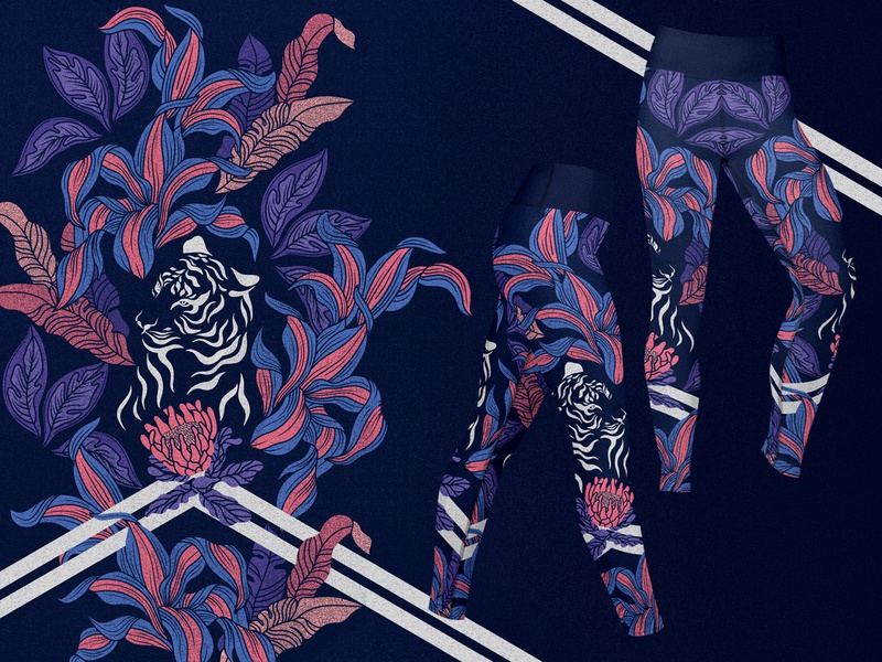 "yoga pants ""roar"" print outfit sports design tiger pattern tropical adobe illustrator design procreate illustration art digital art"