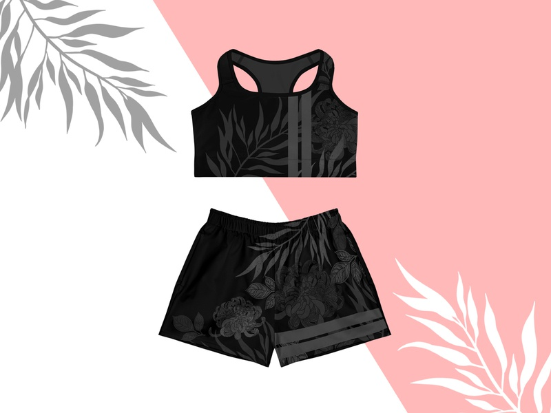 print design print sports design outfit monochrome black and white tropical leaves tropical pattern digital design design adobe illustrator graphic art procreate illustration