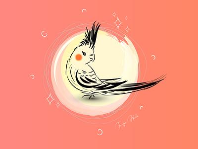 Cockatiel cartoon cute watercolor cockatiel cartoon illustration illustration