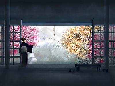 Kimono anime digital art hand drawn illustration