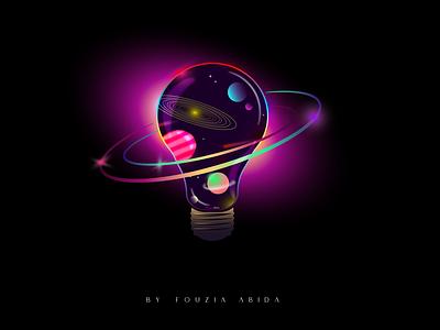 Galaxy Bulb Illustration digital illustration digital painting digital art glowing illustration art bulb illustration illustraion galaxy