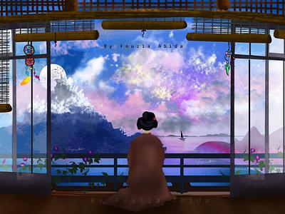 Anime digital art digital girls girl color colorful colors digital painting illustration art hand drawn illustration digital art illustraion kimono japanese culture japanese art animation anime anime girl animeart animated gif