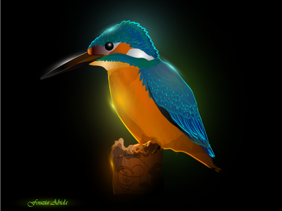 Glowing Kingfisher Illustration glossy bird illustration birds glowing glows glow creative design creativity creative bird color colorful digital illustration digitalart digital illustraion illustration art digital art digital painting illustration