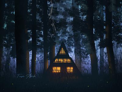 Forest House glow colorful digital digital illustration digitalart illustraion digital painting illustration art digital art illustration
