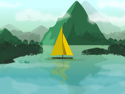Forest Mountain Illustration backgroun travel poster mountain boat forest nature design digital illustration digitalart illustraion illustration art digital painting digital art illustration