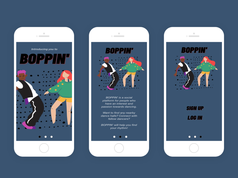 BOPPIN' Social Dance Platform First Three Pages adobe xd dance ux design ux ui art ux ui visual minimal design
