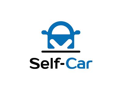 Self-car - Logo proposal 3 parking down arrow brand silhouette lock blue drop icon logo car