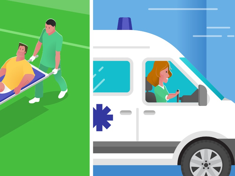 Quick shot from an upcoming explainer video - 3 explainer accident medical ambulance sport rugby design