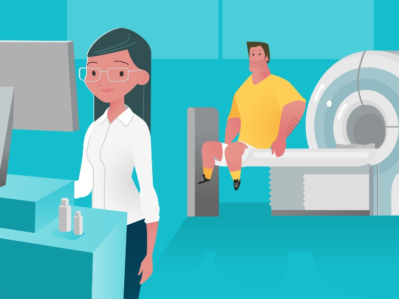 Quick shot from an upcoming explainer video - 4 machine mri doctor rugbyman medical explainer