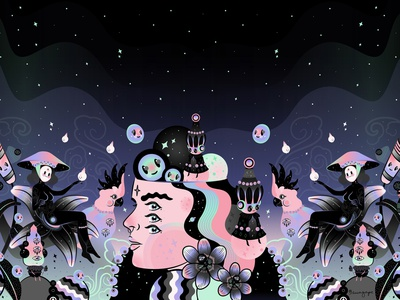 Keep your eyes on the stars! ✨🖤✨ vector stars night magical illustration woman