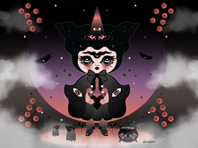 I put a spell on you! night magical dark halloween spooky witch illustration