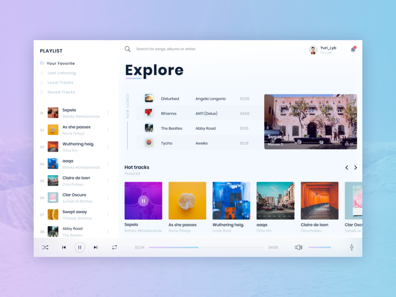 Daily Ui Challenge #009 - Music Player by Yuriy on Dribbble