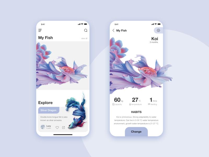Interface exercise fish ux ui design app