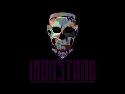 IRONSTAND - Skeletal motivation bodybuilder apparel gymrat ironstand logo illustration workout gym tshirt face skeletal