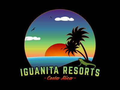 Beach Logo Illustration vacation chill relaxed ocean costa rica iguana palm trees sunset landscape illustration beach logo