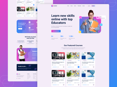 E-Learning Landing Page uiux web design website landing page university school learning app learning e-learning learning platform training classes homepage course teaching education web page e-learning landing page