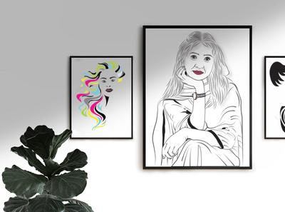 LINE ART graphic design layout design vectorart line art illustraion