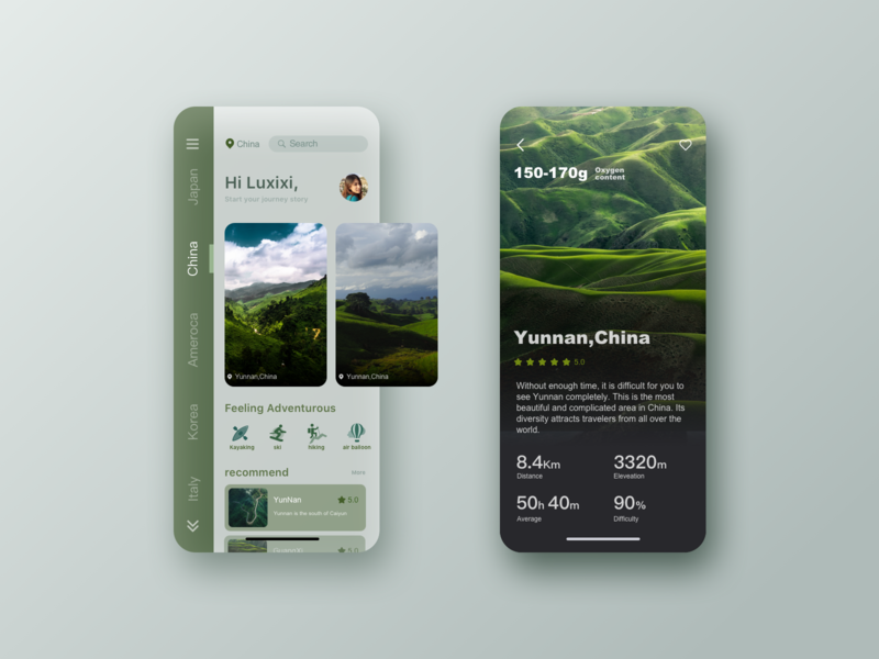 Interface designed for travel apps app design ui