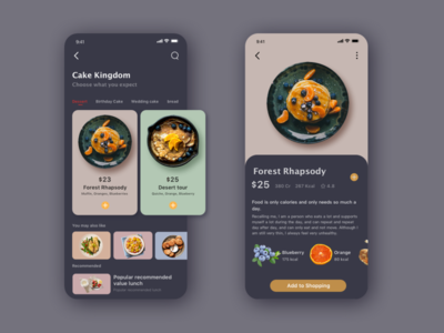 Interface designed for gourmet app design app ui
