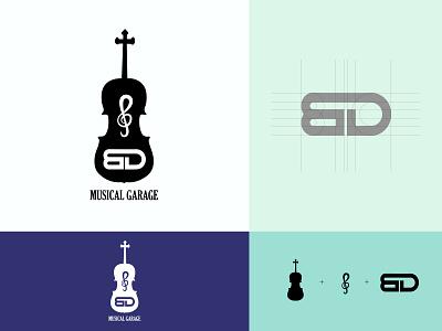 BD Musical Garage Logo branding design brand identity branding musical instrument music minimalist design minimalist logo minimalist black and white music logo design music logo musical logo logos logo design logo