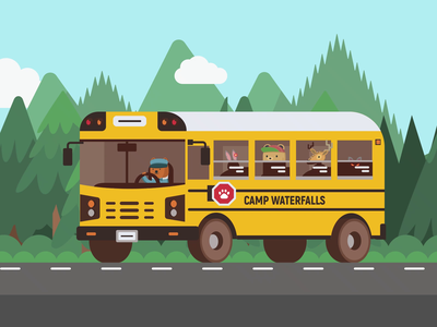 Camp WaterFalls: School Bus vector animation aftereffects illustrator kids website animation colorful traveling nature animal characters camp school bus