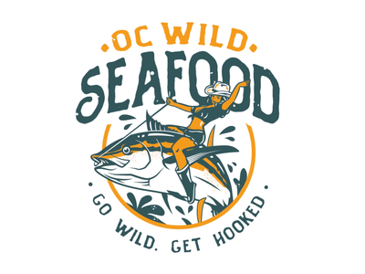 OC Wild Seafood: Logo Animation 2d animation fish seafood cowgirl after effects vector animation motion graphics logo animated logo logo animation